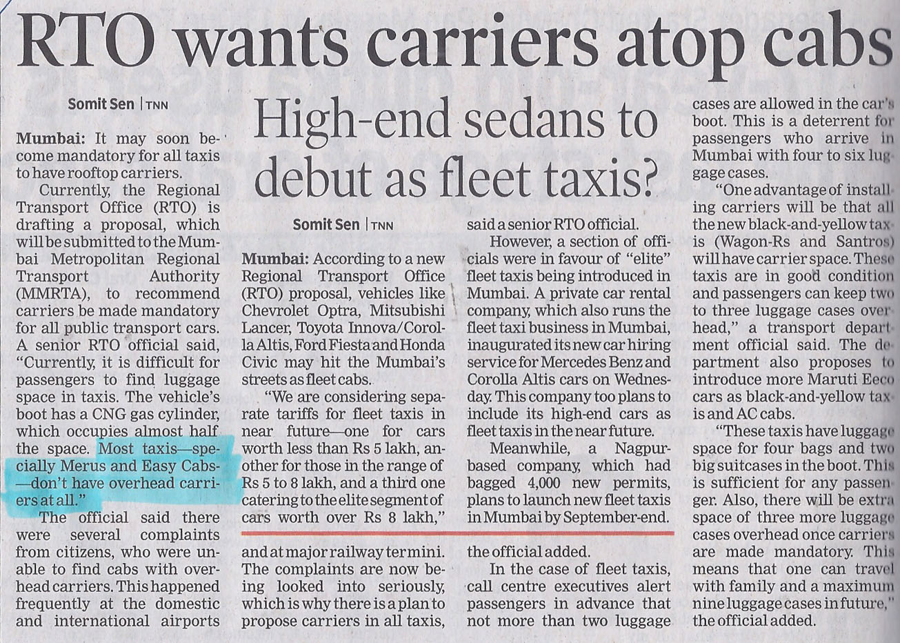 RTO wants carrier atop cabs - Meru Cabs - Times of India