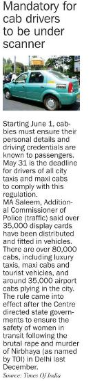 Mandatory for cab drivers to be under scanner