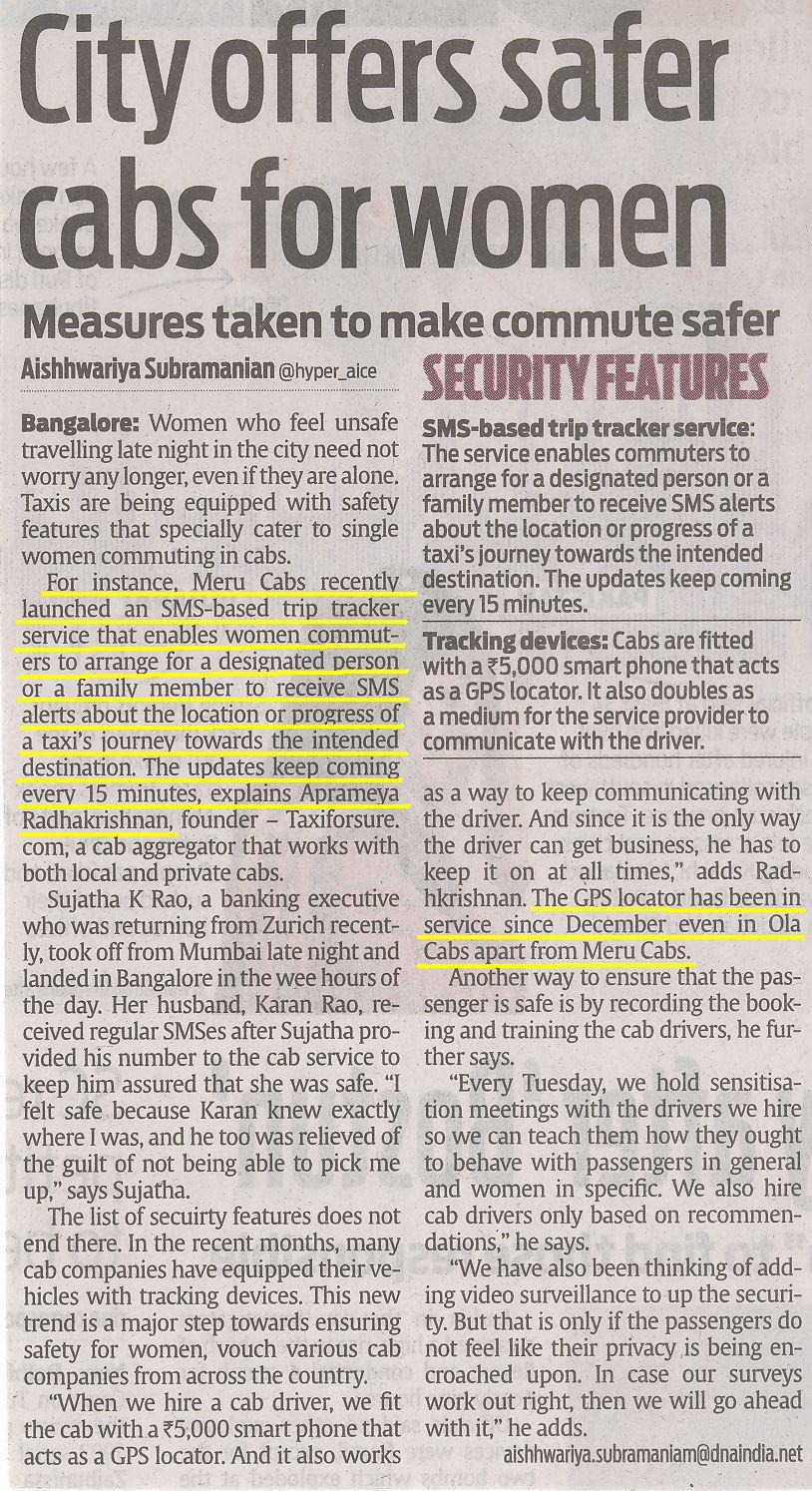DNA Bangalore - City offers safer cabs for women