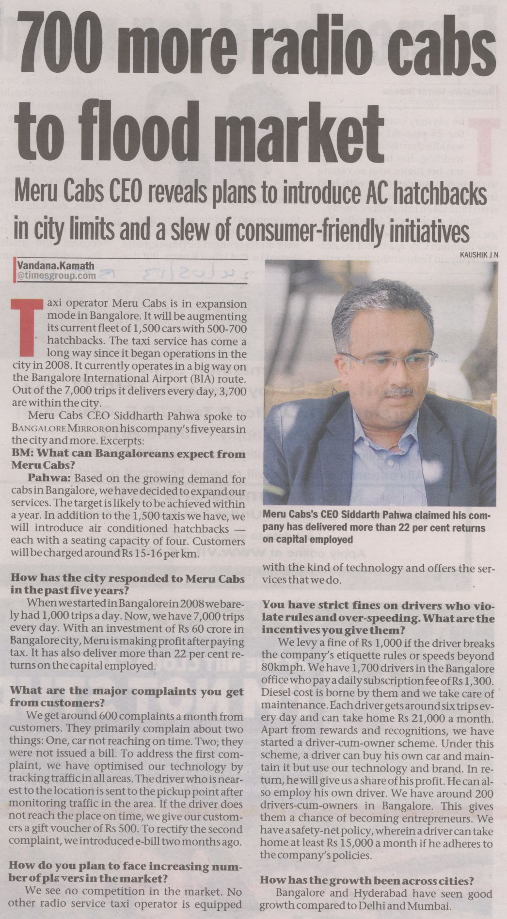 Bangalore Mirror- 700 more radio cabs to flood market