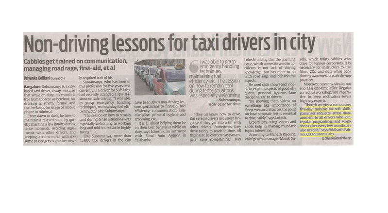 DNA Bangalore - Non-driving lessons for taxi drivers in city