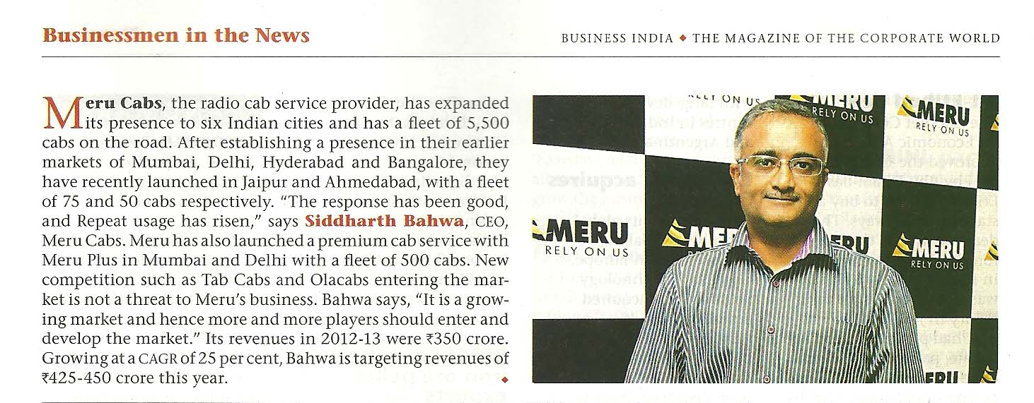 Meru Cabs - Businessmen in the News Mr. Siddhartha Pahwa, Business India