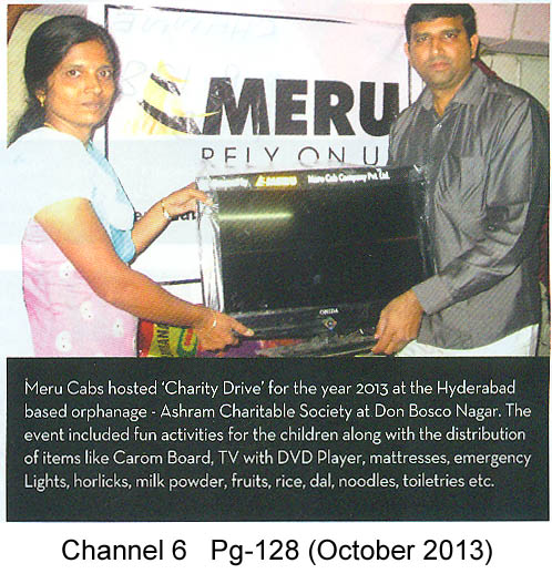 Meru Cabs organises charity drive, Chaneel 6, Hyderabad