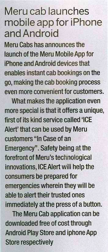 Meru Cabs – Meru Cab launches mobile app for iPhone and Android, Computer Active