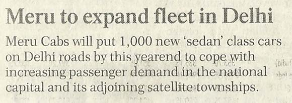 Financial Chronicle, Delhi - Meru to expand fleet in Delhi