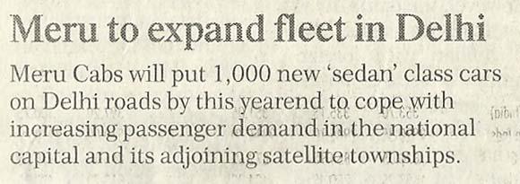 Financial Chronicle, Delhi - Meru to expand fleet in Delhi