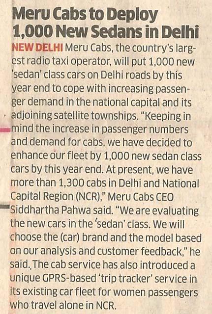 The Economic Times-Meru Cabs to Deploy 1,000 New Sedans in Delhi
