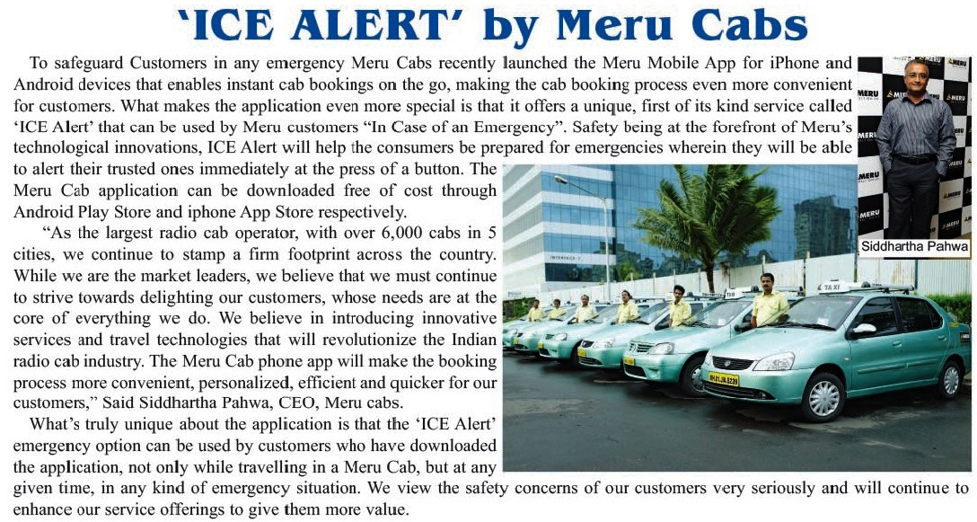 ICE ALERT by Meru Cabs, Global Destinations