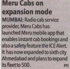Meru Cabs – Meru Cabs on expansion mode, India express, Mumbai