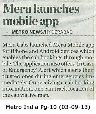 Meru Cabs – Meru launches mobile app, Metro News, Hyderabad