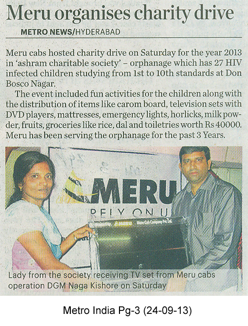 Meru organises charity drive, Metro News, Hyderabad