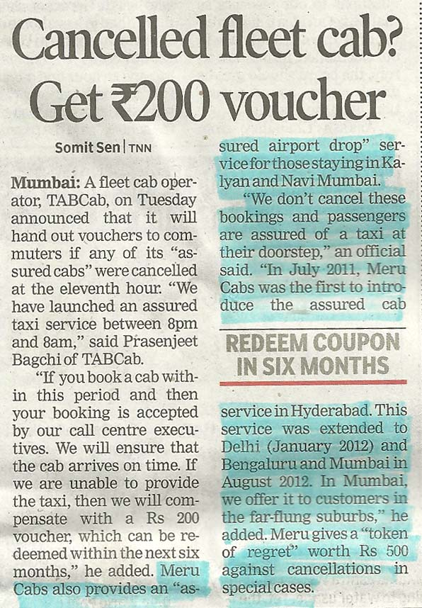 Times of India- Cancelled feet cab? Get Rs 200 voucher