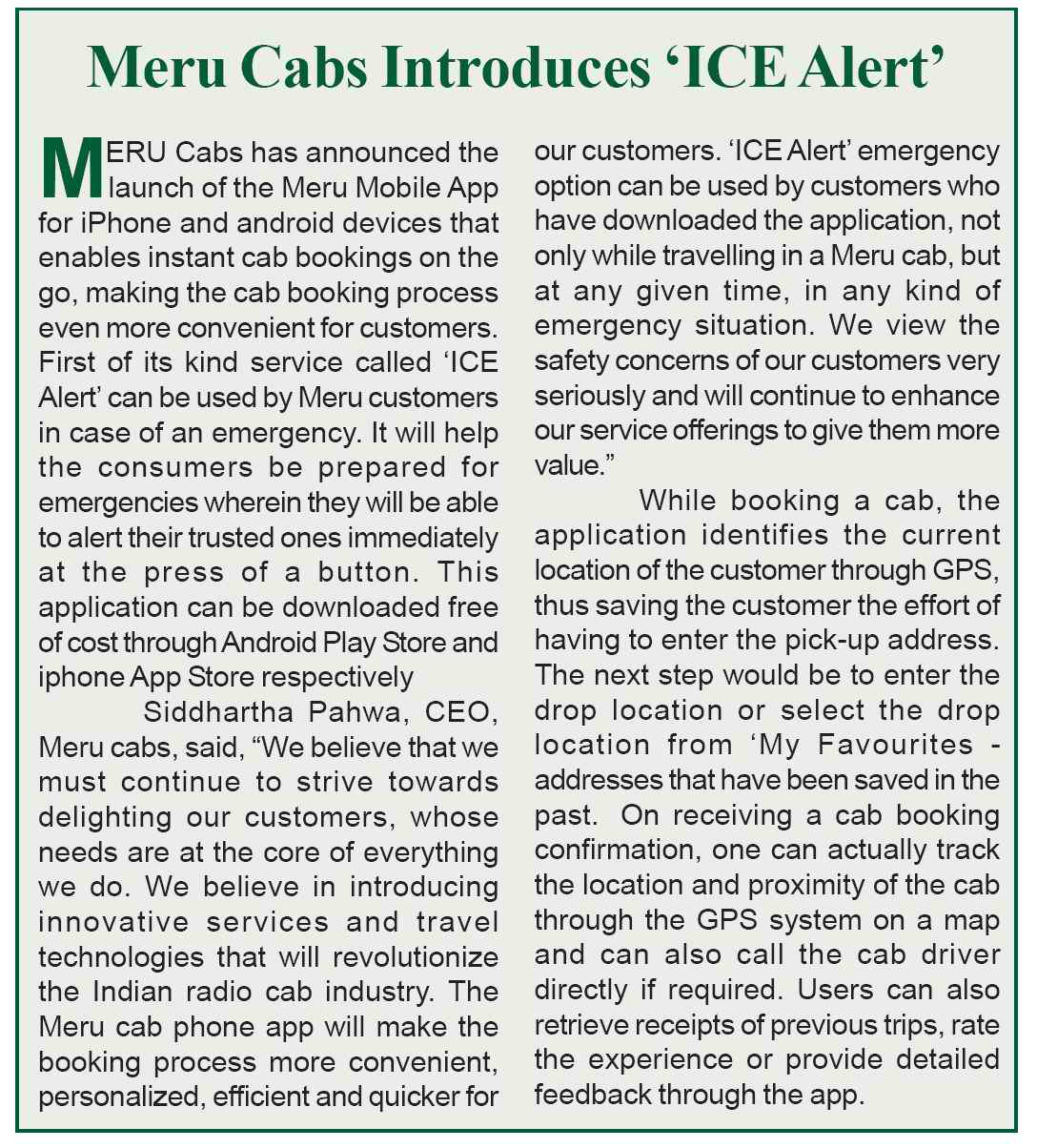 Meru Cabs – Meru Cabs Introduces 'ICE Alerts', Safari India Safari News