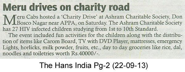Meru Cabs – Meru drives on charity road, The Hans India