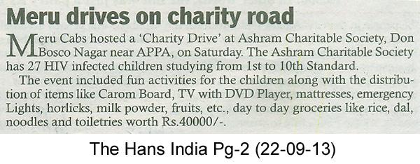 Meru Cabs – Meru drives on charity road, The Hans India