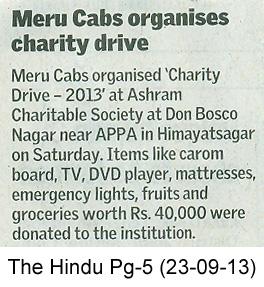 Meru Cabs organises charity drive, The Hindu