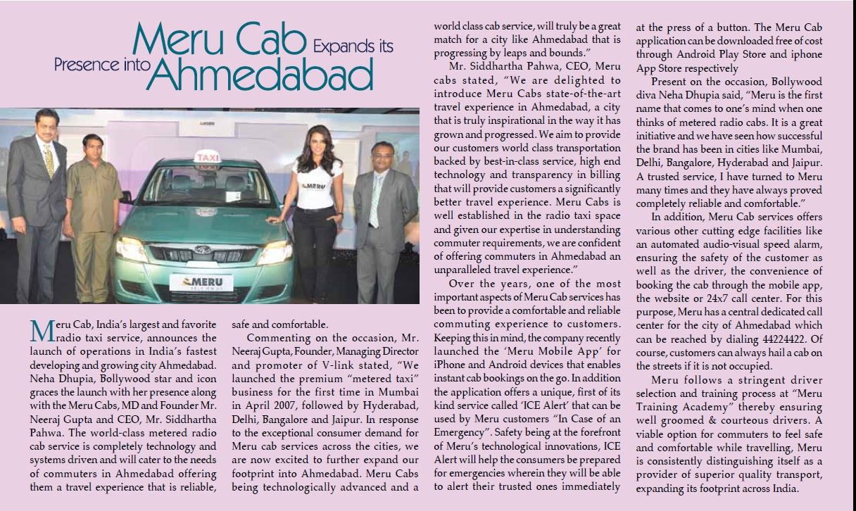 Meru Cabs – Meru Cabs expands its presence into Ahmedabad, Tourism India