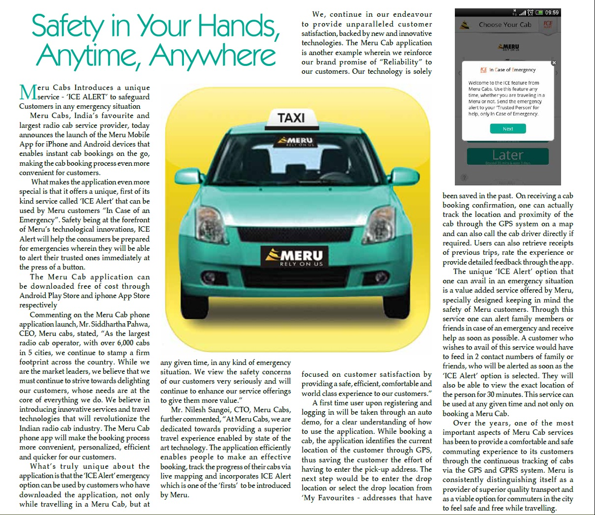 Meru Cabs – Safety in your hands, Anytime, Anywhere. Tourism India