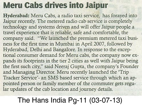 The Hans India, Hyderabad-Meru Cab drives into Jaipur