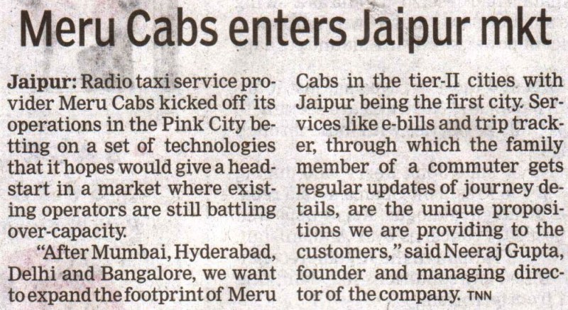 The Times of India, Jaipur- Meru Cabs enters Jaipur mkt