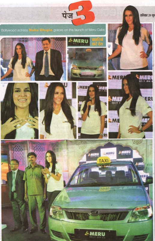 Voice of Jaipur-Bollywood actress Neha Dhupia graces the launch of Meru Cabs