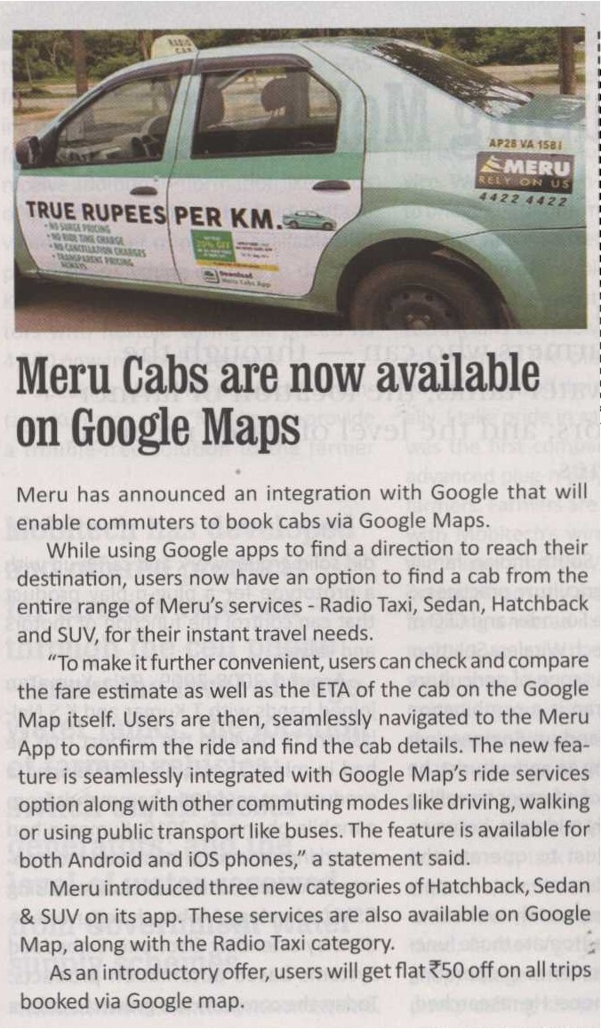 Meru Cabs are now available on Google Maps