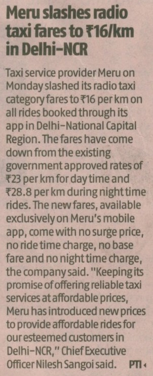 Meru slashes radio taxi fare to ₹16/km in Delhi-NCR